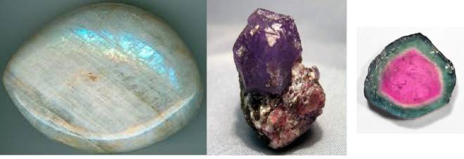 Фото лунного камня, александрита и турмалина