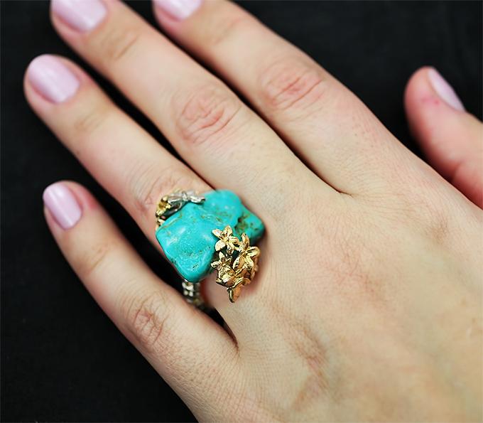 Кольцо серебряное с бирюзой