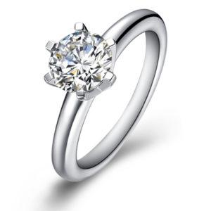 кольцо с бриллиантом в 1 карат фото