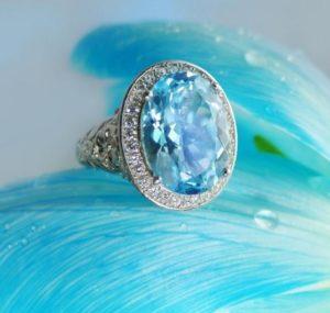 кольцо с голубым топазом фото