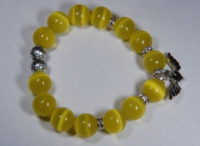 браслет с желтым кошачим камнем