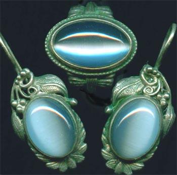 комплект серьги кольцо кошачий глаз голубой