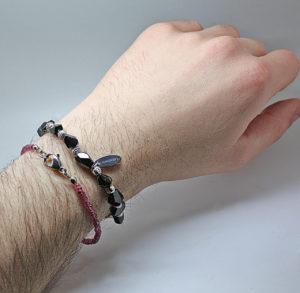 мужской браслет с рубеллитом